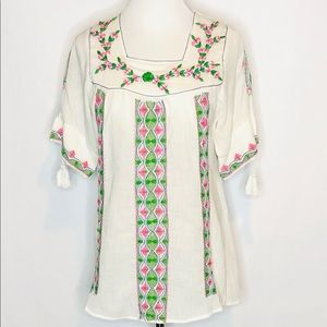 LeTarte Cotton Embroidered Peasant Blouse NWOT s